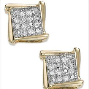 Diamond 10kt yellow gold square stud earrings